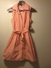 Be Bop Juniors Small S Shirt Dress Striped Sleeveless Belt NWT Melon White