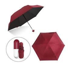 Paraguas De Bolsillo Mini Anti UV compacta carcasa de cápsula de secado rápido con vino tinto