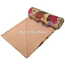 Indian Quilt Blanket Queen Cotton Printed Bed Cover Tropical Fruit Kantha Quilts