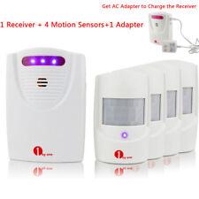 Security Driveway Garage Motion Wireless Alarm Alert System 4 Sensors + Adapter