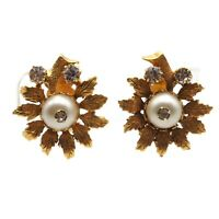 Vintage Estate Gold Tone Faux Pearl Crystal Rhinestone Flower Clip On Earrings