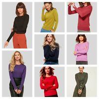 Ex M & Co Womens Ladies Crew Neck Round Button Sleeve Detail Jumper 8-22