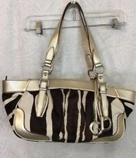 Dolce Gabbana Purse Black And White Zebra Calf Hair Brushed Gold Leather
