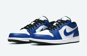 Nike Air Jordan 1 Retro Low Game Royal 553558-124 White Blue Black Sz 11 - 12