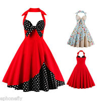 ZAFUL Vintage Halter Floral Swing 50s Housewife pinup Retro Jive Evening Dress