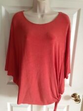 NWT Chico's Travelers Ginger Coral Butterfly Sleeve Side Tie Top, Size 0 (XS, 4)