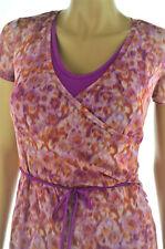MORE & MORE Sommerkleid Kleid in Wickeloptik Netzkleid Größe 38 Orange Lila NEU