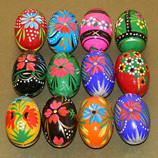 12 POLISH WOODEN  EGGS - PYSANKY WOODEN HAND PAINTED EGGS
