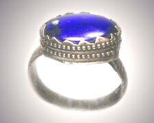 Antique 18thC Constantinople Turkey Byzantium Silver Sz9 Sapphire Blue + Zircon