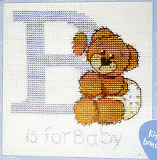 Semco cross-stitch kit - B is for Baby Boy - Birth Sampler - with frame