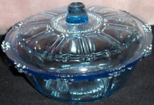 Collectible Blue Glass Table Serving Bowl Dome Lid Candy Fruit Dish Indonesia