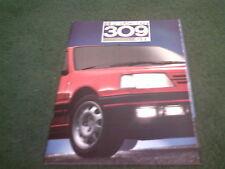 Modelo 1988 Peugeot 309 GTI-UK 18 página folleto de color