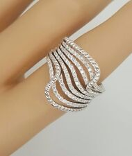 ESTATE 14K 585 WHITE GOLD DIAMOND CLUSTER COCKTAIL WOMANS CURVED TWIST RING 7.25
