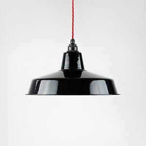 Lampenschirm Emaille Industrielampe Fabriklampe Vintage 36cm schwarz 2. Wahl
