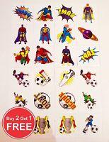 72 Kids Boys Football & Super Hero Temporary Tattoos Loot Party Bag Filler Kids