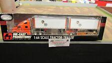 DCP#30260 TIGER LINES INC PETE 387 SEMI CAB TRUCK DOUBLE PUP TRAILER'S 1:64/ FC
