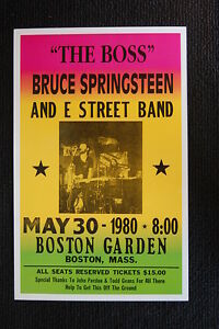 Bruce Springsteen 1980 Tour Poster The Boston Garden E Stree--