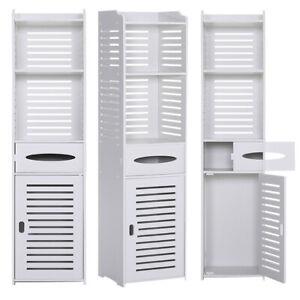 White Tall Bathroom Cabinet Cupboard Shelf Storage Unit Slatted Wood Free Stand