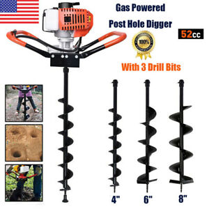 """52CC Post Hole Digger Gas Powered Earth Auger Fence Borer + 4"""" 6"""" 8"""" Drill Bits"""