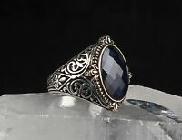 TURKISH HANDMADE 925 STERLING SILVER JEWELRY BLUE SAPPHIRE MEN'S RING   #TR