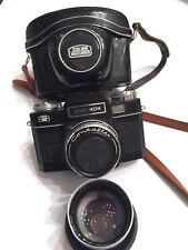 Vintage Zeiss Ikon Contaflex Super BC Black SLR Camera w/ 2 Lenses & Camera Case