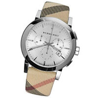 NEW Burberry Men's City Leather Strap  Nova Check Chronograph Watch BU9357
