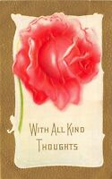 With All Kind Thoughts 1913 Embossed Postcard Rose Gold Border Roseville Ohio