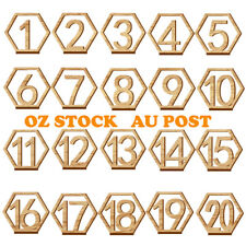 20PCS WOODEN TABLE NUMBERS  FREESTANDING 1-20 WEDDING BIRTHDAY PARTY DECORATION