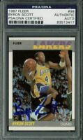 Lakers Byron Scott Authentic Signed Card 1987 Fleer #98 PSA/DNA Slabbed