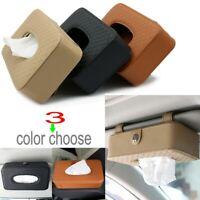 Pu Leather Car Sun Visor Tissue Cover Box Holder Paper Napkin Clip Accessories