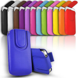 Leather Slide In Phone Case Button Close Pull Tab Flip Cover fits Various Models