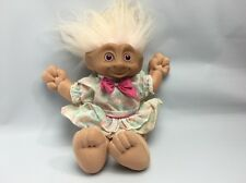 "Troll Doll - 12"" Tall With Plush Body - Pink Hair/Belly Jewel - Vintage 1990's"