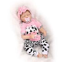 """22"""" Real Lifelike Soft Silicone Reborn Doll Baby Girl Sleeping Newborn Dolls"""