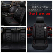 Car Seat Cover Protector+Cushion Front & Rear Full Set Black PU Leather Interior