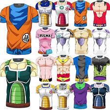 Herren Dragon Ball Z Kostüm Kompression Kurzarm T-Shirt Sport Cycling Gym Tops