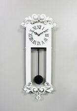 Antique Pendulum Wall Clock Modern Art Design Home Interior Noiseless - White