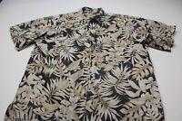 Cooke Street Honolulu Tan Charcoal Floral Hawaiian CAMP SHIRT XL Extra Large