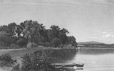 HUDSON RIVER MOODNA CREEK FARM HOUSE BOATS ~ 1874 Landscape Art Print Engraving