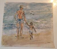 "Emil Hess Signed ""Beach Scene"" Original Watercolor 7"" x 8"""