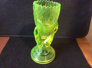 Rare Victorian John Derbyshire Yellow Vaseline / Uranium Pressed Glass Hand Vase