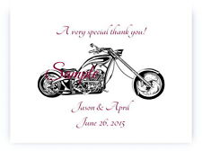 100 Personalized Harley Davidson Motorcycle Bridal Wedding Thank You Cards