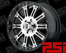 "22"" INCH KMC HOSS WHEELS X4 RIMS ALLOYS BLACK OR BLACK MACHINE FACE"