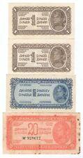 More details for 4x 1944 issue yugoslavia 1 5 20 dinara banknotes yugoslav