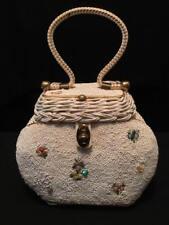 Vintage Midas of Miami Wicker Beaded Handbag 1950's Retro Rockabilly
