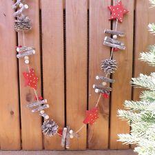 Madera Navidad Invierno Decoración de Boda Cono Pino Rojo Star & Bayas Guirnalda
