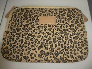 KINMAC IPAD/LAPTOP CASE LEOPARD PRINT ZIP CLOSURE FELT INNER 31cm X 22cm