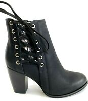 Olivia Miller Womens Black Side Lace Ankle Booties Boots, Size 6.5