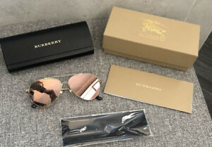 Authentic BURBERRY aviator Gold Frame Sunglasses Size 55 Made In Italy EUC
