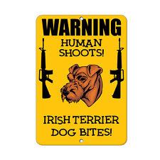 Irish Terrier Dog Human Shoots Fun Novelty Metal Sign