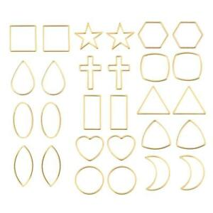 30X Raw Brass Geometric Star Circle Connectors Components For Diy Jewelry Making